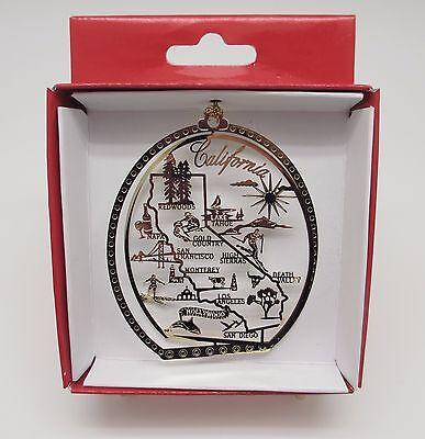 California Ornament Brass State Cities Landmarks Travel Souvenir Keepsake Gift