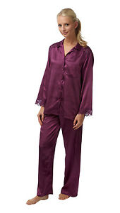 Ladies-Charmeuse-Satin-2-Piece-Pyjamas-Plum-Sizes-10-28