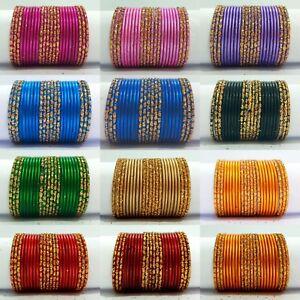 Details about Colored Indian Bangles Bracelets 24pcs Set Girl Kids Fashion  Gold Tone Jewelry