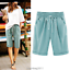 Plus-Size-Knee-Length-Pants-Women-Summer-Elastic-Waist-Lace-Up-Short-Pants thumbnail 9