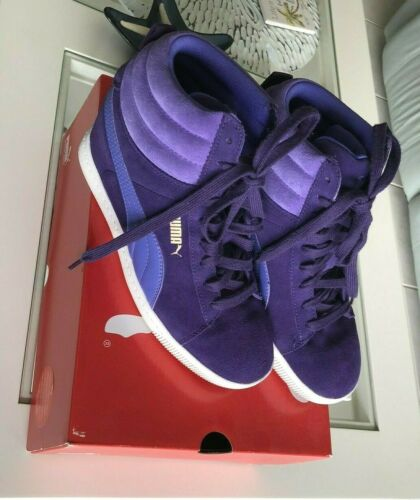 PUMA Purple Wedge Hi Top Leather Suede Sneakers Wo