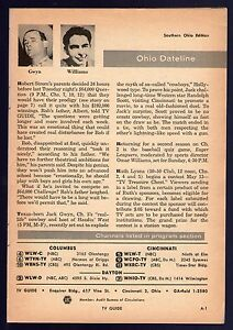 Details about 1957 Tv Article~JACK GWYN~OMAR WILLIAMS~Southern Ohio Tv  Guide Page~Cincinnati