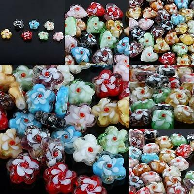 Multicolor Loose Spacer Beads Murano Lampwork Glass Flower Heart Square Charms