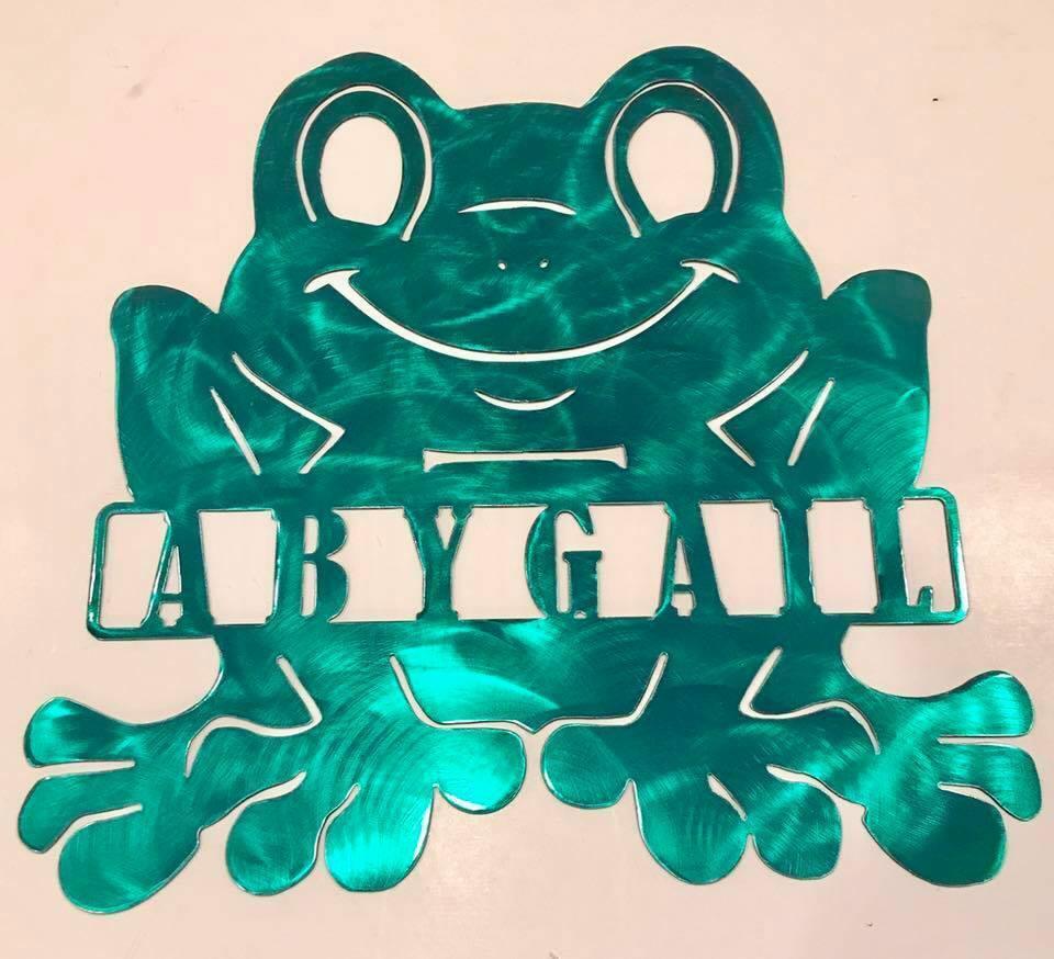 Happy Frog Monogram Metal Sign
