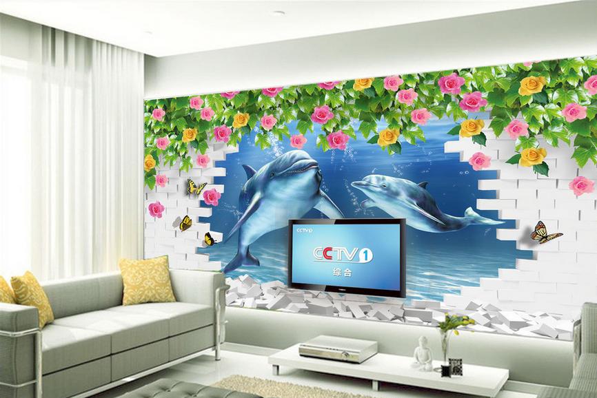 3D Dolphin Rosa Rebe 92 Tapete Wandgemälde Tapete Tapeten Bild Familie DE Summer  | Erste Qualität  | Verrückter Preis  | Internationale Wahl