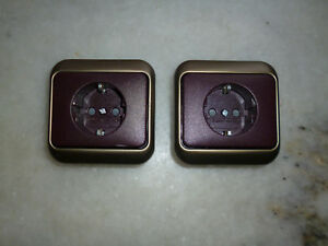 2 Steckdosen 1-fach Rahmen BUSCH JAEGER SET ALPHA NEA Bronce 2 St