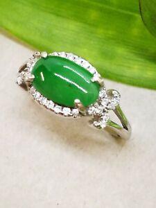 Green Natural Jadeite Burmese Jade Ring/糯冰阳绿天然缅甸翡翠戒指/ビルマ翡翠リング