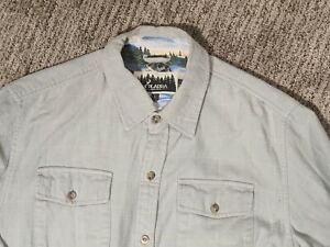 PLADRA-Blue-Grey-Flannel-Button-Up-Shirt-Contrast-Wolf-Print-Lining-Collar-Cuffs
