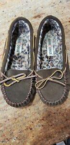 Minnetonka Women's Brown Leopard  Print Lined Moccasins Size 7