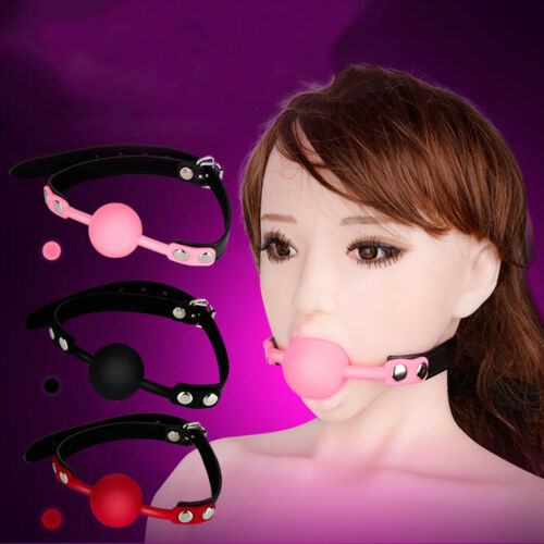 Silicone Open Mouth Gag Ball w// Leather Bondage Neck Strap Couples Cosplay Game
