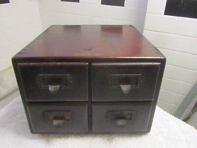 Antique Wood Shaw Walker 4 Drawer File