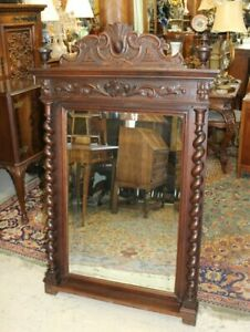 French-Antique-Carved-Oak-Renaissance-Louis-XIII-Beveled-Mirror