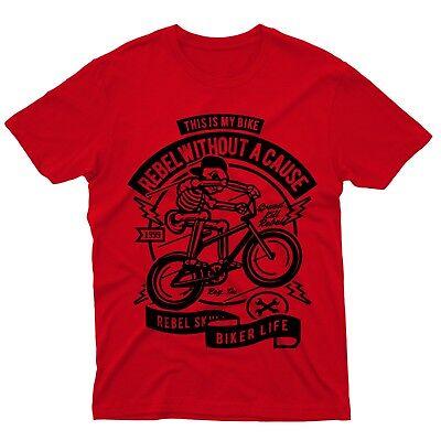 2019 Moda Fm10 T-shirt Maglietta Rebel Without A Cause Bike Bici Mtb Skull Divertente Gift Ineguale Nelle Prestazioni