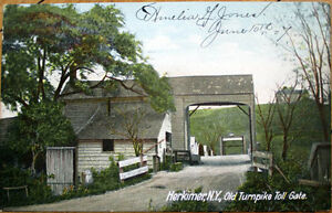 1907-Postcard-Old-Turnpike-Toll-Gate-Bridge-Herkimer-New-York-NY