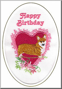Pembroke Corgi Birthday Card Embroidered by Dogmania FREE PERSONALISATION