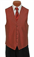 Small New Mens Copper Rapture Fullback Wedding Prom Formal Tuxedo Vest and Tie