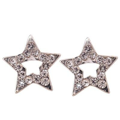 Fashion Jewelry Star White Crystal Sliver Plated Hollow Star Ear Stud Earrings