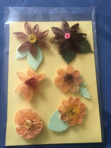 HANDMADE BEAUTIFUL COLORFUL TRADITIONAL SETS OF 6 QUILLED FLOWERS