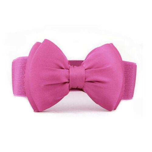 Fashion Women Girls Bowknot Elastic Wide Stretch Buckle Waistband Waist Belt