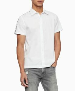 Calvin-Klein-Mens-White-Size-XL-Poplin-Striped-Logo-Button-Down-Shirt-69-411