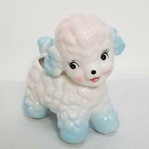 Vintage-Samson-Import-Co-Ceramic-Pink-Blue-Poodle-Mid-Century-Planter-1961-Relpo