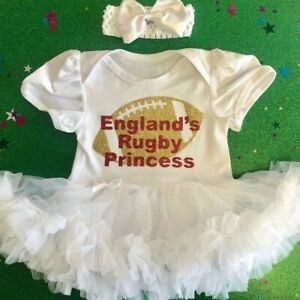 ENGLAND-039-S-RUGBY-TUTU-ROMPER-Red-Glitter-Gold-Rugby-White-Dress-World-Cup-Cute