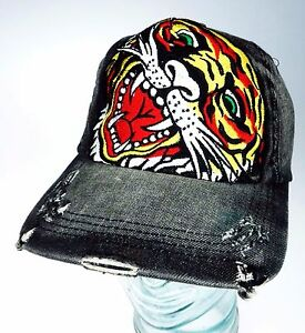 472dc687 Image is loading Embroidery-Tiger-Baseball-Cap-Tattoo -Art-Factory-Distressed-