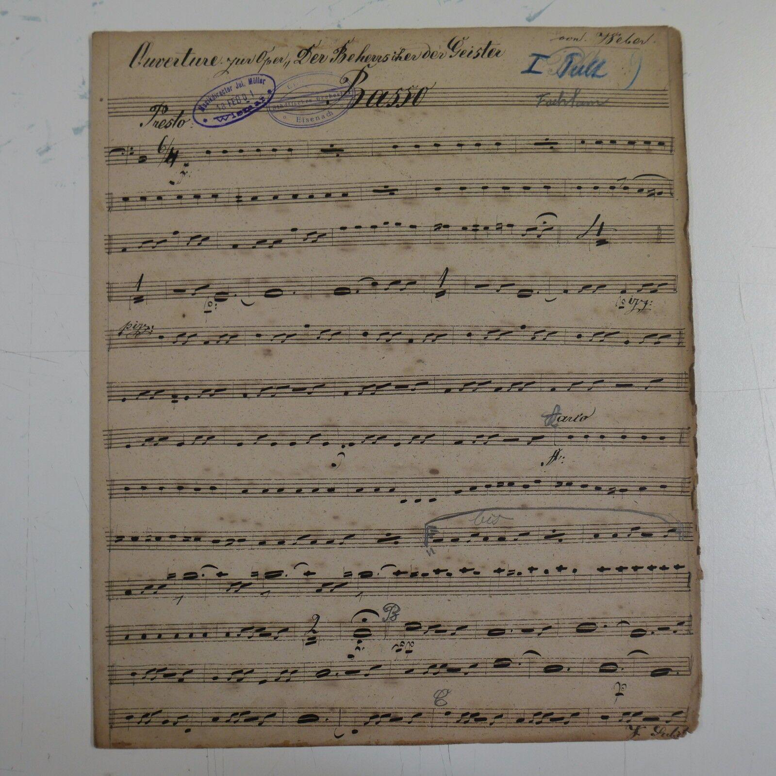 C M v WEBER DER BEHERRSCHER DER GEISTER bass part , antique music manuscript