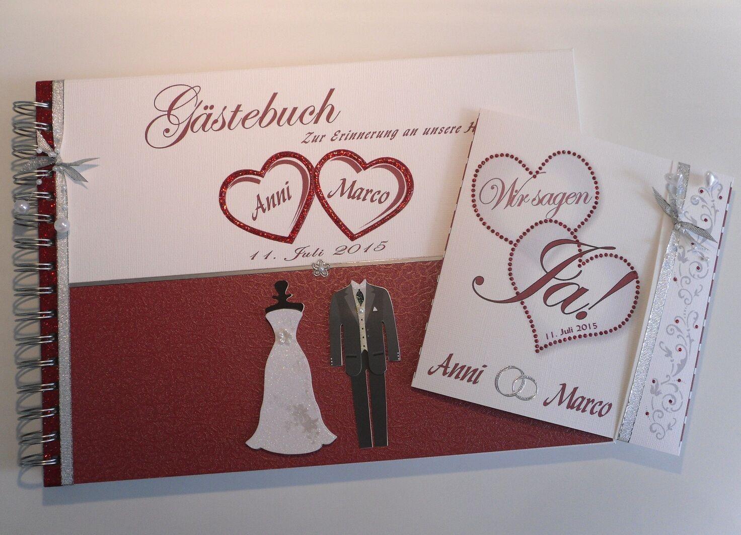 1 x Hardcover Gästebuch zur Hochzeit und 10 x Einladung zur Hochzeit als Paket
