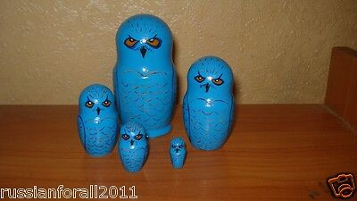 """RARE 5pc hand painted lacquered russian wooden nesting dolls """"OWLS IN BLUE"""""""