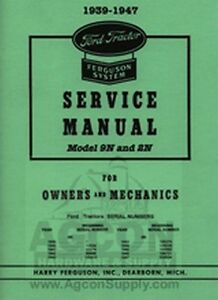 ford 9n 2n tractor service manual for owners mechanics ebay rh ebay com 9n ford tractor service manual ford 9n owners manual free