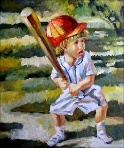 Quality-Hand-Painted-Oil-Painting-Boy-Playing-Baseball-20x24in
