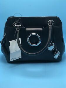 Image Is Loading New Calvin Klein Leather Circular Hardware Satchel Handbag