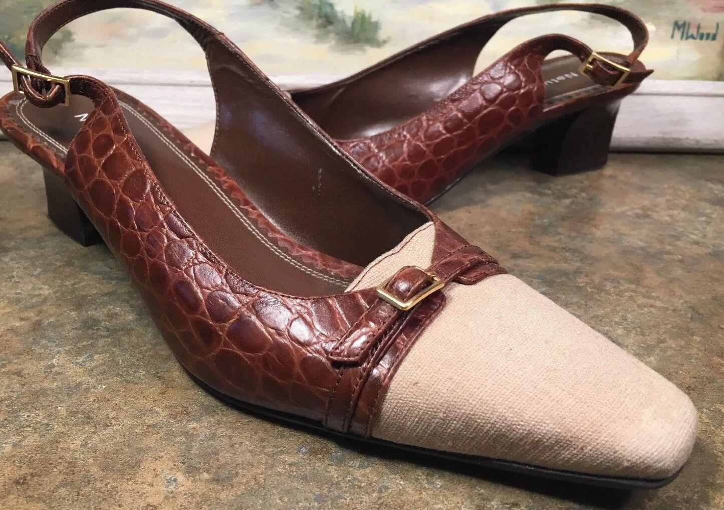 Naturalizer Womens Print Slingback 8M Brown Croc Print Womens Leather Block Heel Tan Fabric 18588c