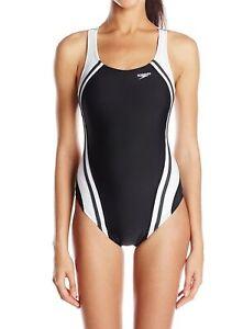 Speedo-Women-Black-White-Size-10-Splice-Powerflex-Eco-One-Piece-Swimsuit-78-199