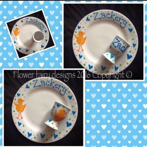 Easter Egg Cup And Side Plate Sets Personalised And Hand Painted