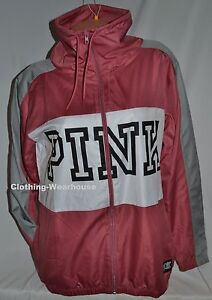 b7cc5f092bdca Details about Victoria's Secret PINK Begonia White Gray Zip Up Funnel Neck  Anorak Jacket XS/S