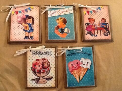 5 WOODEN 50s Retro Style BIRTHDAY Ornaments, Gift Tags, Hang Tags SETiy4