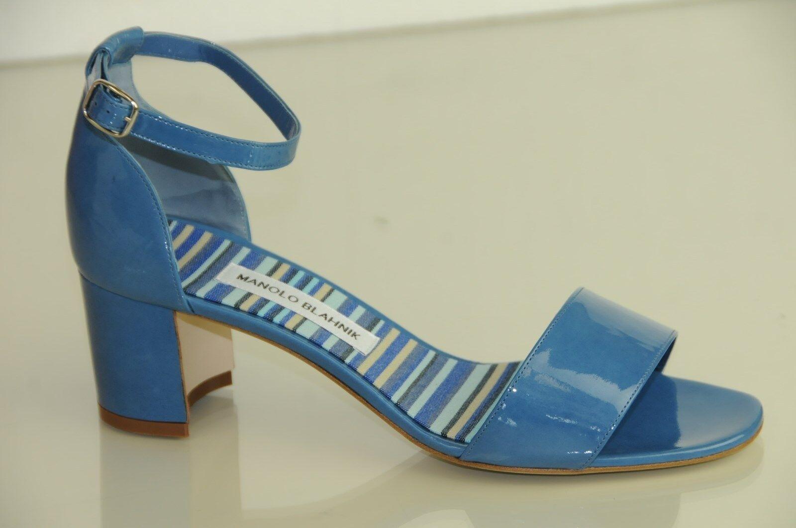 bellissimo New Manolo Manolo Manolo Blahnik Lauratomod Block Heel Ankle Strap Sandals scarpe 40.5  colorways incredibili