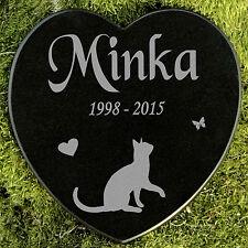 Gedenkstein Grabplatte Katze Gravur Herz Grabschmuck Marmor Wunschgravur 12,5 cm