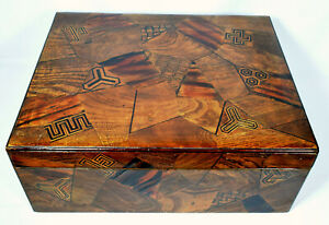 Stunning-Large-Antique-Japanese-Wooden-Marquetry-Box-Red-Lacquer-Interior
