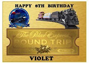 Cool The Polar Express Train Ticket A4 Edible Cake Topper Rectangle Funny Birthday Cards Online Elaedamsfinfo