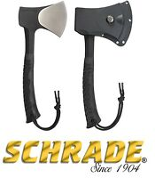 Schrade 11 Axe 3cr13 Steel Blade Rubber Handle Black Camping Hunting Hiking