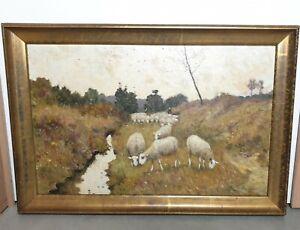 Antique-Belgian-Painting-Oil-on-Cardboard-Rene-DE-BAUGNIES-1869-1962-E-0506