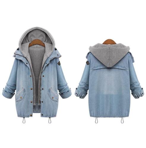 Damen Kapuze Jacke Denim Trench Coat Parka Mantel Jeansjacke+West Warm Winter FL