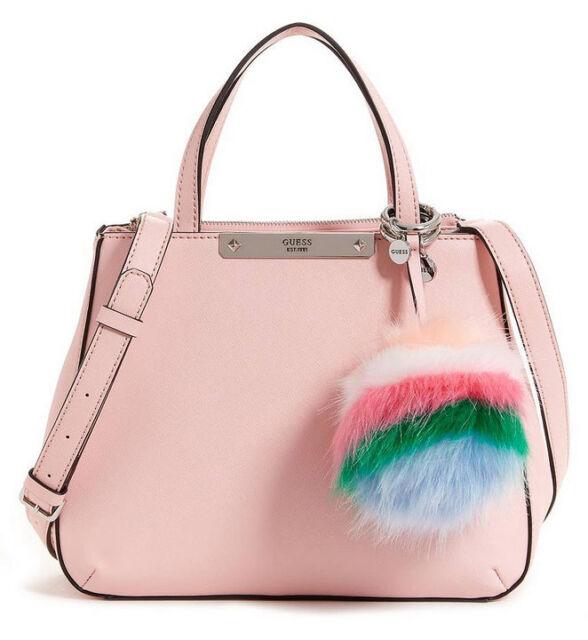 9823f961e392 GUESS Britta Satchel Handbag Purse Safiano Blush Pink w  pom pom