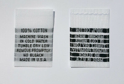 250 PCS WHITE WOVEN FOLDED SEWING CLOTHING LABELS 2T 3T 4T SIZE TAGS