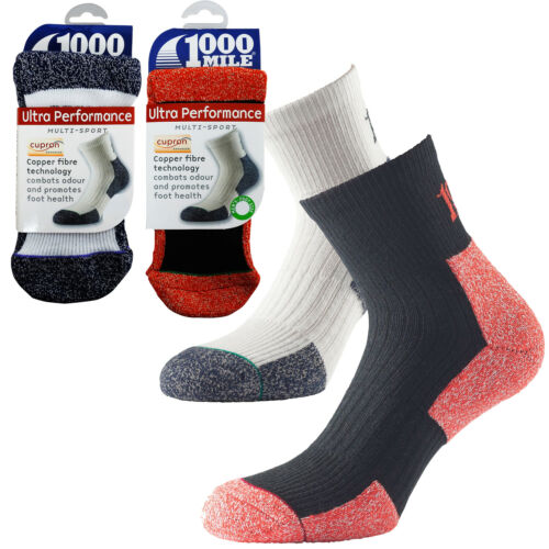1000 Mile Ultra Performance Cupron Odour Fighting Mens Sports Training Socks