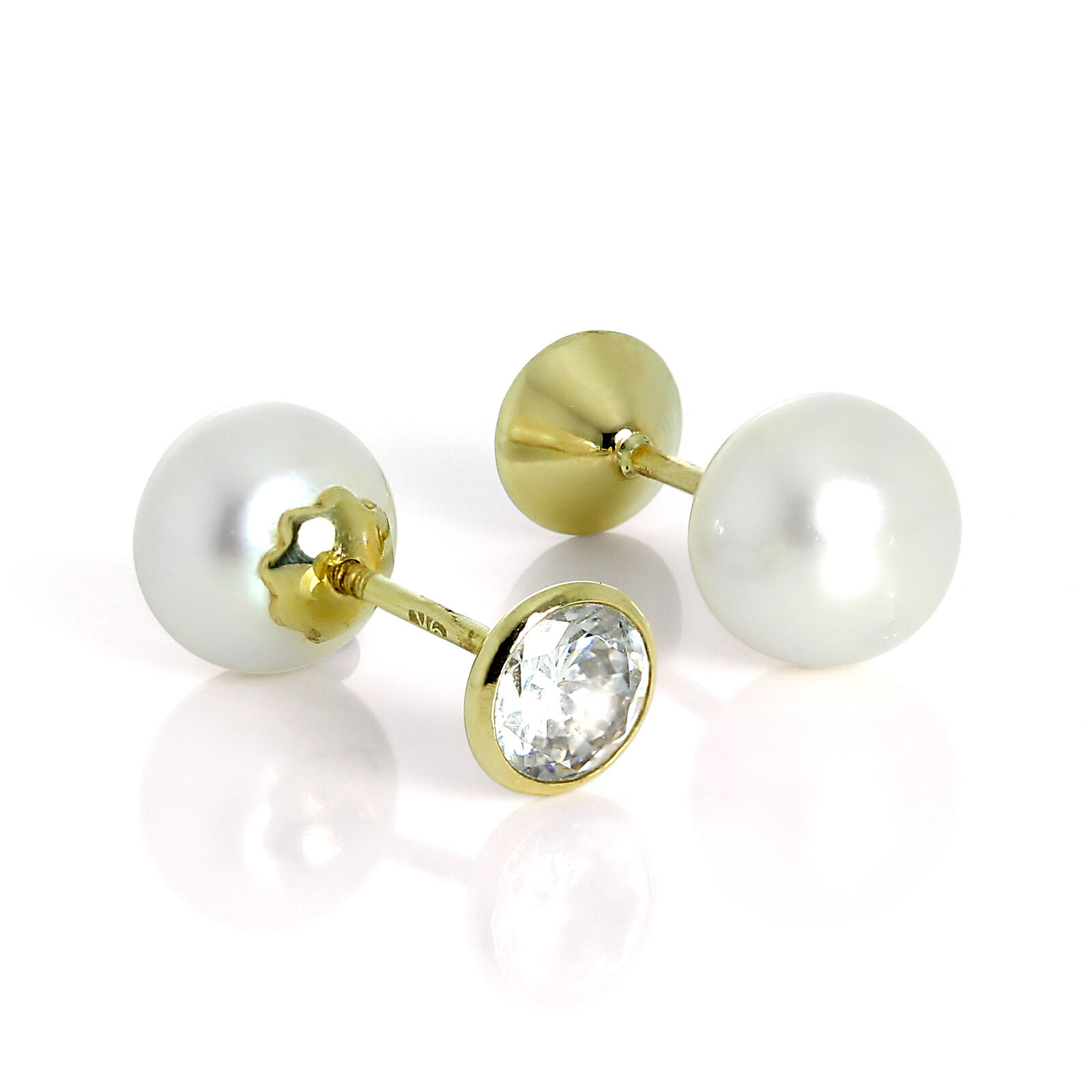9ct gold Freshwater Pearl & 5mm Round CZ Crystal Double Sided Stud Earrings