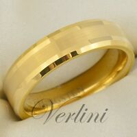 6mm Wedding Band Brushed Class Tungsten Mens Ring Jewelry Size Gold Color Rings